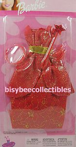 2002 Barbie Fashion Fantasy Princess Gowns Red Lace Gold Trim Magic Wand Crown