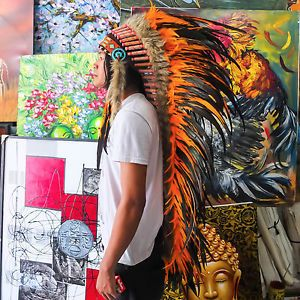 Real Chief Indian Headdress 130cm Feathers Native American Costume War Bonnet