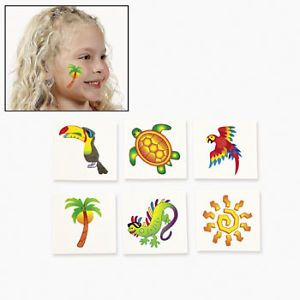 72 Assorted Tropical Tattoos Sea Turtle Gecko Toucan Parrot Beach Party Favors