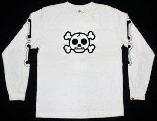 Auth A Bathing Baby Milo x One Piece Anime Manga bape Made in Japan T Shirt L S