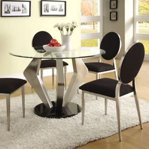Black Silver Round Glass Top Dining Table and Chair Set Modern Furniture Metal