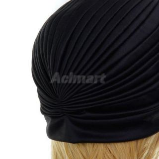Women's Black Pre Tied Turban Head Wrap Band Pleated Twist Hat Cap Chemo Bandana