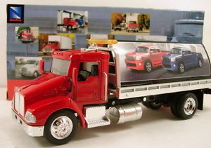 "NewRay Kenworth T300 1 43 Scale 8"" Diecast Model Flatbed Tow Truck Red N124"