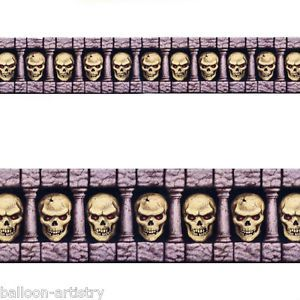 Haunted Halloween Scene Setter Border Roll Scary Skulls