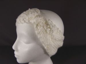 White Knot Turban Style Crochet Ear Warmer Muff Head Band Wrap Knit Stretch