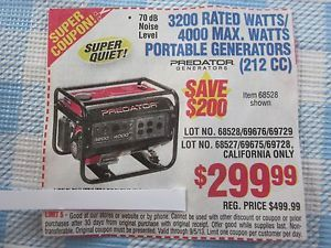 3200 w 4000 Max Watts Portable Generators Harbor Freight Coupon Save $200