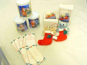 Christmas Lot 4 Mini Stockings Money Holders Gift Cards Snow Globes