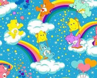 Care Bear Carebear Rainbows Hearts Stars Blue Cotton Fabric