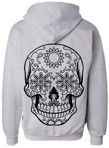 Skull Love Hate Rock Design Tattoo Graphic Band Music Tribal Unisex Zip Hoodie