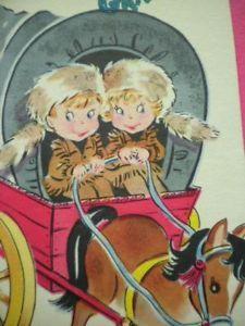 Vintage Greeting Card 'Happy Birthday Grandson' Covered Wagon Cowboy Child