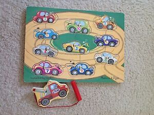 Melissa and Doug Puzzle Tow Truck Game Magnetic Wood Cars Track Truck Hand Eye