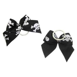 Skull Crossbones Headdress Flower Pet Dog Grooming Bow