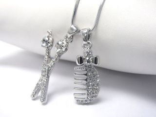New Hair Stylist Crystal Scissors Comb Charm Necklace