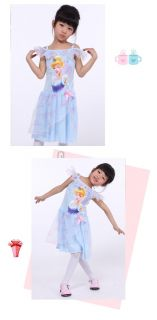 New Disney Princess Cinderella Costume Girls Toddler Party Dresses Blue 3T 7T