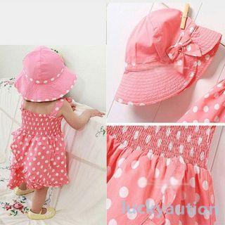 Kids Baby Girl Pink Dot 3pcs Dress Pants Hat Set Outfit Costume Clothes 0 36M