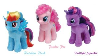 "Set of 3 My Little Pony 7"" Plush Beanie Baby Rainbow Dash Pinkie Pie Twilight Ty"