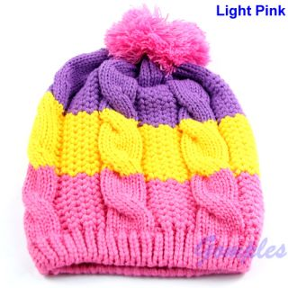 New Cute Colors Baby Child Kid Girl Boy Stretchy Winter Warm Ball Hat Cap Beanie