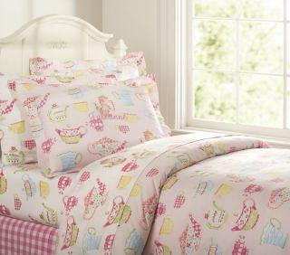 NIP Pottery Barn Kids Julianne Duvet Cover Twin Sham Pink Teapots
