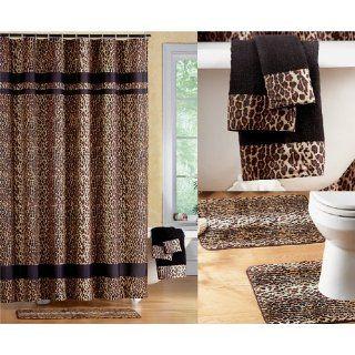 Brand New Black Brown Jungle Animal Leopard Print Bathroom Shower Curtain Set