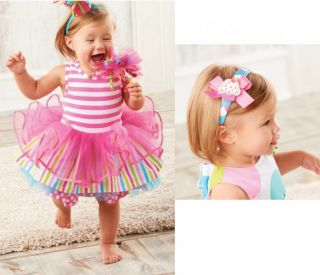 Mud Pie Birthday Wishes Girls Tiered Party Dress Pink 1st 12M 2 3 4 5