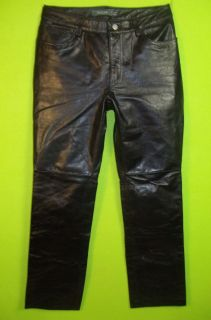 Gap Boot Cut Leather Pants Sz 8 Womens Black Leather Pants Slacks EV81