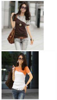 Ladies Womens Short Sleeve Slim Fit Two Tone Colors Shirt Blouse T Shirt Top