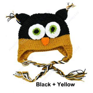 Fashion Toddler Baby Girls Boys Cute Owls Animal Crochet Knit Woolly Cap Ear Hat
