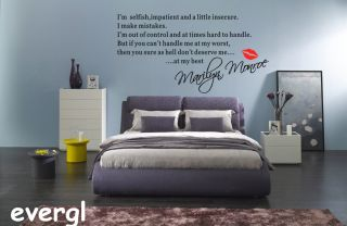 Marilyn Monroe I'M Selfish Quote Wall Sticker Art Decal Home Decor Vinyl Mural