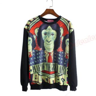 Fashion Women Gorilla Pattern Blouse Long Sleeve Loose Sweatshirt T Shirt