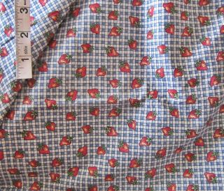 3yds Red Strawberries Fruit Novelty Print Cotton Fabric D Marcum Marcus Bros