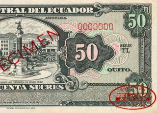 Banco Central Del Ecuador 50 Sucres Specimen de La Rue Banknote Papermoney