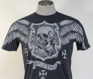 Affliction Vintage Distressed Tattoo Skull Graphics Tee T Shirt Mens