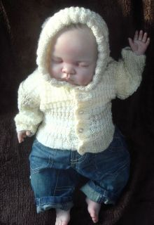 Baby Hand Knitted Cardigan Jacket Hoodie Soft Baby Yarn Cream Fade 0 3 Months