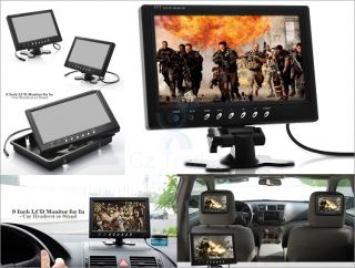 """9"""" inch Car Monitor LCD Screen in Car Use Headrest Stand Mount Speakers 12 24V"""