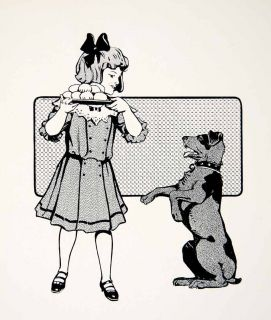 1913 Print Girl Dog Ben Day Tint Treatment Postrait Child Animal Bread Biscuits