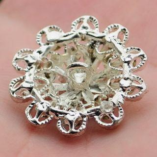 4 Pcs Diamante Sparkling Crystal Rhinestone Button Flower 27 mm Card Making