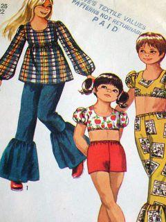 Vintage Girls 70s Simplicity Hippie Pants Top Blouse Pattern 943