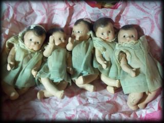 Dionne Quintuplets Dolls 1930's Compo Babies Original Clothing No Reserve