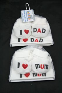 New I Love Mum or I Love Dad Hat Bootee Gift Set Baby Unisex Newborn