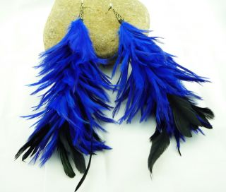 Charm Natural Hand Made Long Huge Multicolor Big Feather Dangle Fashion Earrings