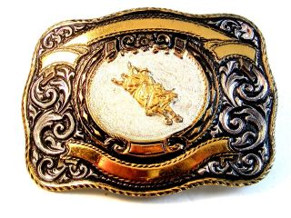 Vintage Silver Gold Tone Bull Rider Rodeo Cowboy Belt Buckle by Crumrine