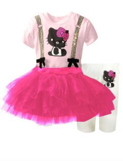 Hello Kitty Girls Pink Dress 1 5 Years Top Legging Outfit Trousers Tutu Skirt UK