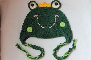 New Cute Cotton Handmade Baby Knit Crochet Frog Hat Cap Newborn Photo Prop Gift
