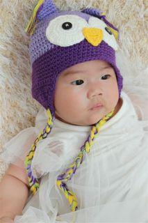 Cute Handmade Cotton Baby Girl Owl Hat Beanie Light Purple Newborn Photo Prop