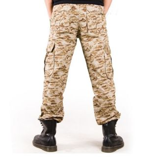 Mens Boys Military Army Cargo Camo Combat Slacks Work Camouflage Pants Trousers