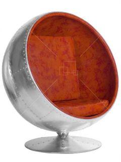 Aviator Ball Chair Vintage Tan Leather Aluminium Spitfire Eero Aarnio