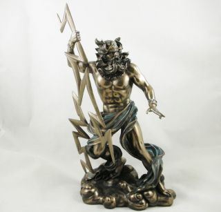 Zeus Statue Ancient Greek Mythology Father of All Gods Bronzed Figurine New