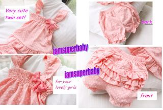★baby Girl Pink Dots Camisole Ruffle Pant Set 6 24MOS★