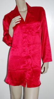 Victorias Secret Size s Red Satin Nightshirt Sleep Shirt Small SM S