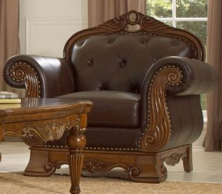 Lansing Wood Trim Genuine Leather Sofa Couch Loveseat Set Living ...